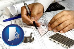 rhode-island a mechanical engineer working on a blueprint