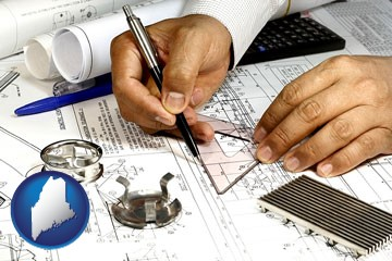a mechanical engineer working on a blueprint - with Maine icon