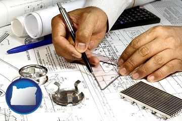 a mechanical engineer working on a blueprint - with Oregon icon